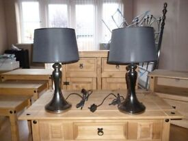 Living Room Table Lamps Chrome With Black Shades 2