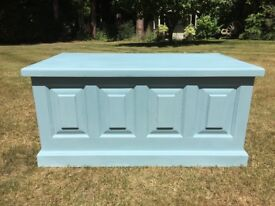 Hand Painted Solid Pine Blanket Box in Summer Sky