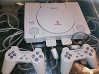 Sony Playstation One Console With Main Lead & 2 x Controllers