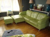 Corner sofa and footstool. Green leather, Right-hand Facing.