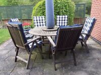 HARTMAN REAL TEAK PATIO SET with 6 chairs and cushions