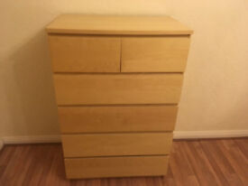 IKEA Chest of 6 drawers White stained oak veneer
