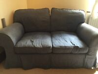 2 seater blue sofa, shabby chic, cosy, good cobdition £35 ONO