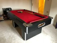 FOR SALE - 6x3ft Slimline Slate Bed Pool Table with Red Cloth with Spots and Stripes balls & 3x Cues