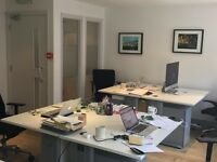 2 fixed desks - stylish 2nd floor office. Charlotte St. Open plan, meeting rooms, WiFi. £375 each PM