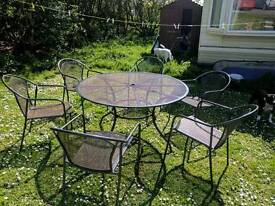 Large Metal Garden / Patio Table and Chairs