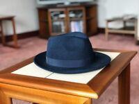Navy Trilby FEDORA wool hat - 53% OFF (originally £70)