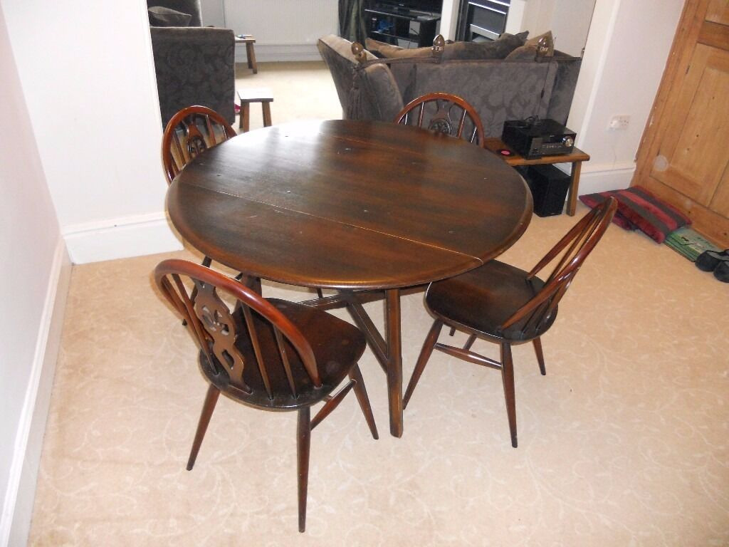 Ercol dining room table 4 chairs in matlock for Dining room table 4