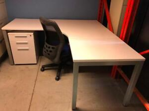 """Axis Series 72"""" x 72"""" Desk with Mobile B/B/F Pedestal - Brand New"""
