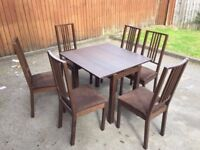 Dining table and chairs, 4 seat & 6 seat
