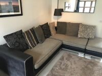 Large Corner Sofa with footstool and cushions