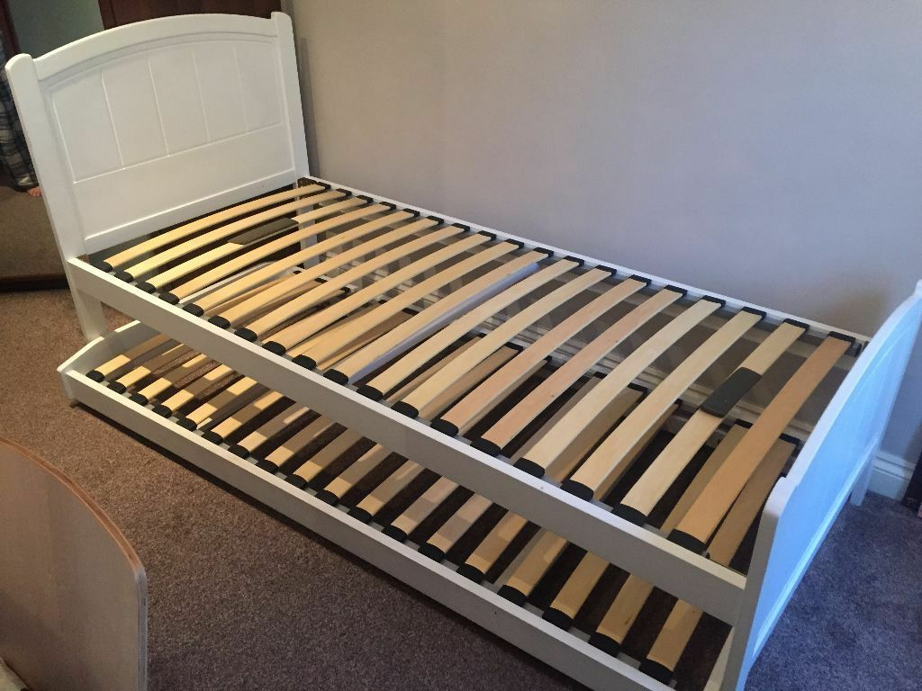 Marks Spencers White Single Bed With Double Bed Pull Out 2 M S