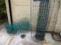 Wire mesh fencing.