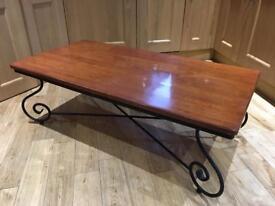 Coffee table. Wrought iron and Malaysian hardwood.