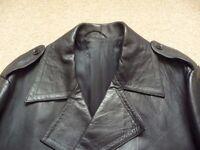 Mens black nappa leather trench coat, jacket, 3/4 length, 46 inch chest. Retro / matrix style