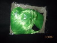 GREEN BOB FANCY DRESS WIG WITH BLACK HORNS ATTACHED GREAT FOR HALLOWEEN