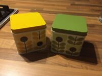 Orla Kiely Tins x 2, slight fade to lids, never had anything in