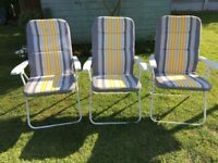 3 Garden Chairs, soft cushion, partial recline, foldable for easy storage