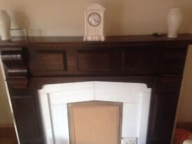 Mahogany fire surround with marble insert and marble hearth very good condition