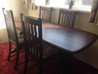 Dark Oak refectory table with 4 chairs