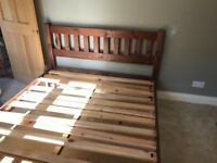 Solid wooden king size bed frame and Laura Ashley mattress