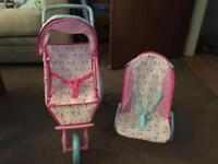 Kids pushchair and bouncer