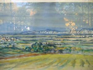 "Heinrich Waser "" Panoramic Landscape"" 1961 Original Watercolor Stratford Kitchener Area image 2"