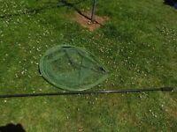 Fishing Tackle, Large KORUM Latex Landing Net with Pole VGC