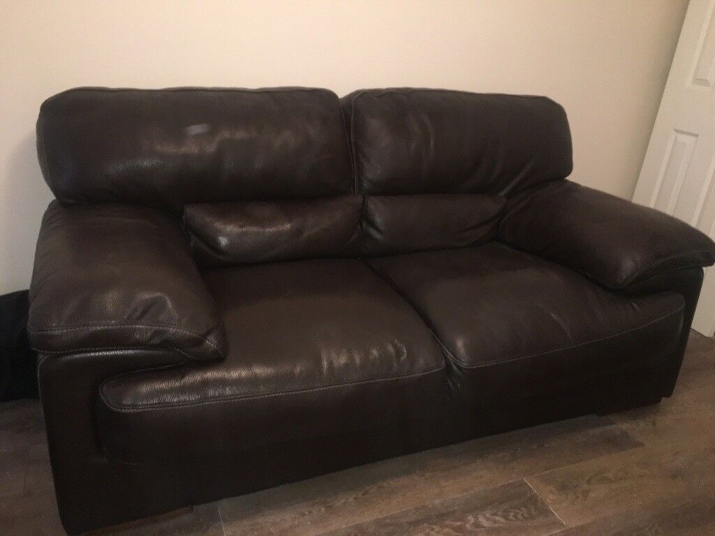 Large 2 Seater Chestnut Brown Leather Sofa In Denny Falkirk