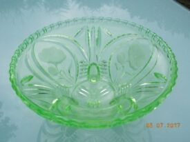 Vintage Green Glass Dish - with Flower Patterns