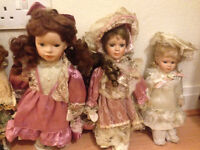 12 ANTIQUE PORCELAIN DOLLS FOR SALE