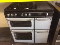 Silver new home 80cm dual fuel cooker grill & fan oven good condition with guarantee