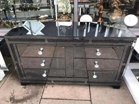 Sparkle Crystal Smoked Mirrored Large Chest Of Drawers