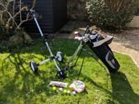 Golf Beginner Set - Dunlop Bag and Trolley, Nike Glove, Clubs, Balls and Tees