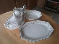 China crockery by Eternal Bow Terrine, Serving Plate, Gravy Boat & Dish