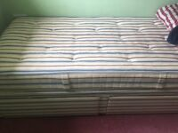 Single divan, mattress and drawers