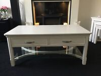 White solid wood coffee table with 2 drawers and glass shelf (ex John Lewis)