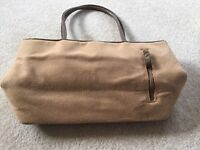 Applique leaf and floral design fabric handbag