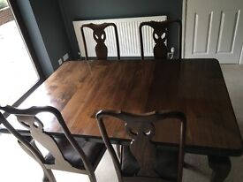 Solid Mahogany Dining Table with 4 matching chairs