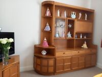 Teak and glass display cabinet