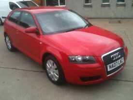 07 PLATE AUDI A3 1.6 SE 3DR 79000MILES IN RED £3975