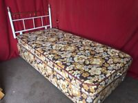 SINGLE BED WITH MATTRESS AND HEADBOARD,CAN DELIVER