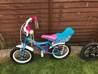 Girls bike with stabilisers and dolly seat age 3 -5