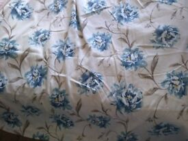 Curtains pair, 9ft long x 3.5ft wide each, blue & cream + tasselled hold-backs