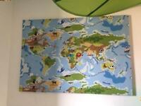 Children's nursery bedroom map canvas large painting kids green blue decor