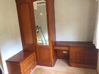Corner bedroom suite consisting of Double wardrobe, 2 x chest of drawers and dressing table