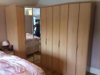 Nolte Mobel, corner wardrobe, with mirrored doors