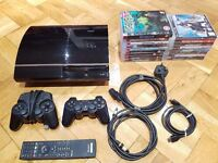 Sony PS3 250GB excellent condition in full working order with 2 controllers and 17 games