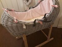 Grey Claire de lune moses basket with stand