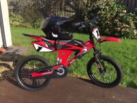 "Boy's Bicycle - 16"" Avigo Motobike (Toys r Us) - Full Face Helmet (Halfords) - (St Clears)"